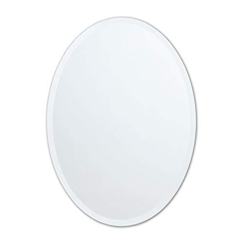 Small Frameless Beveled Oval Wall Mirror...