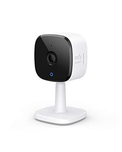 Cámara wi-fi interna Eufy Security 2K, videovigilancia doméstica, inteligencia artificial para reconocimiento de personas / animales, asistencia de voz, visión nocturna, no se requiere HomeBase, microSD no incluida