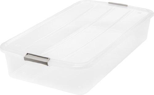 IRIS 50 Quart Underbed Buckle Up Box, Clear