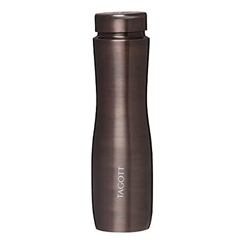 TAGOTT Apsara Copper Water Bottle, 1000ml, Set of 1, Wood Brown
