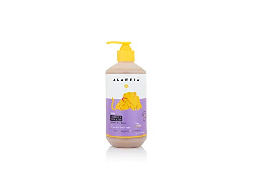 Alaffia - Everyday Shea Shampoo and Body Wash, Babies and Kids, Gentle and Calming Support for Soft Hair and Skin with Shea Butter, Neem, and Coconut Oil, Fair Trade, Lemon Lavender, 16 Ounces