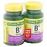 Spring Valley Natural Timed Release Vitamin B12 Tablets, 1000mcg, 150 pc, 2 ct