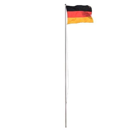 Vanage Aluminium Flaggenmast/Fahnenmast, Höhe von ca. 6,50 m, inklusive Deutschland-Flagge ca. 120 x 80 cm und Bodenhülse