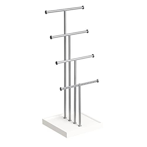 Amazon Basics - Portagioielli ad albero su quattro livelli, Bianco/Nichel