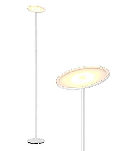 Gladle Stehlampe LED Deckenfluter Dimmbar, Stehleuchte für Wohnzimmer Schlafzimmer Büro, kompatibel mit Smart-Plug, 3000K Warmweiß