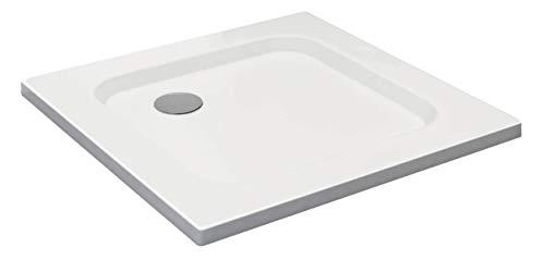 VILSTEIN Duschwanne 70 x 70 x 5 cm, sehr Flach, Duschtasse mit Gefälle, Sanitär-Acryl, Glasfaser verstärkte Wanne, DIN-Anschluss, Form: Quadratisch, Weiß, Schneeweiß Hochglanz - ohne Ablaufgarnitur