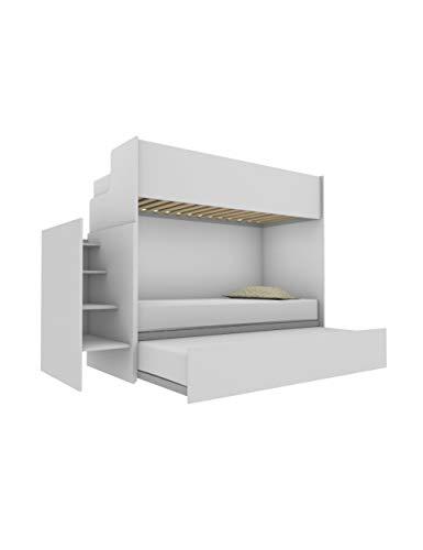 Woody Letto a castello funzionale di design, con terzo letto estraibile e sollevabile 80x190. Scala contenitiva inclusa.Bianco