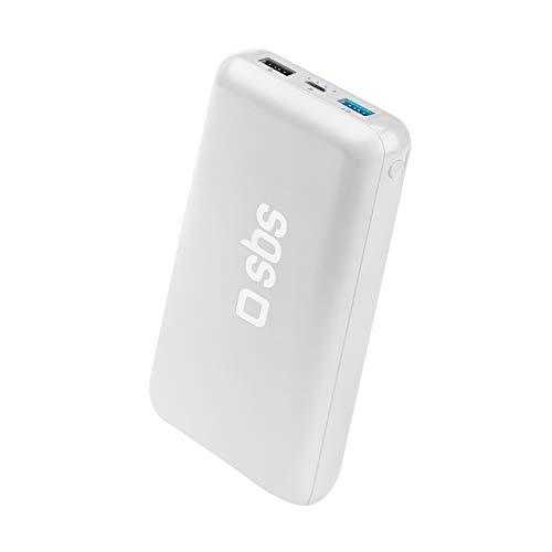 SBS Power Bank Caricabatterie Portatile da 20.000 mAh a Ricarica Rapida, 2 uscite USB da 1A e 2.1A, Ingresso Micro USB, Intelligent Charge, 4 indicatori LED di Stato, Cavo USB Incluso