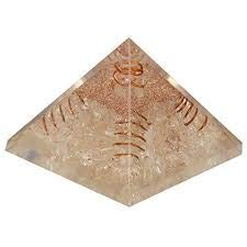 Spiritual Elementz Reiki Cargado Chakra Curación 4 Caras, Bobina de cobre de cristal Orgone Pirámide (3') con cristal transparente piedra de cobre metal (piedra de pureza y positividad)