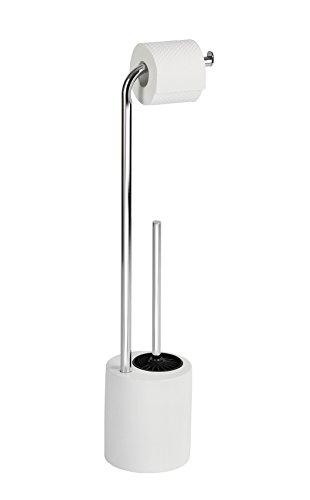 WENKO 22724100 Stand WC-Garnitur Lodi - Toilettenpapierhalter und WC-Bürstenhalter, Stahl, 18 x 74,5 x 15,5 cm, chrom