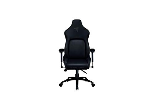 Razer Iskur - Chaise de jeu haut de gamme avec support lombaire intégré (chaise de bureau, cuir synthétique multicouche, rembourrage en mousse, coussin de tête, réglable en hauteur) noir