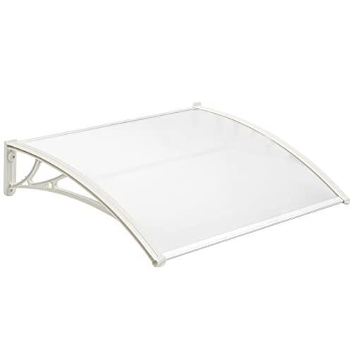 PrimeMatik - Tejadillo de protección 100x60 cm Transparente. Marquesina para Puertas y Ventanas con Soporte Blanco
