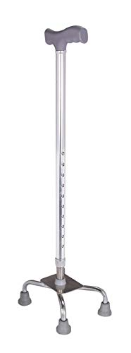 Physiqo 4 Leg Croome Adjustable Height With Handle Stainless Steel Walking Stick For Unisex- Silver