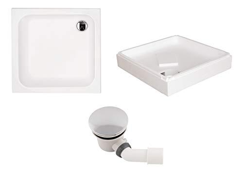 \'aquaSu® Acryl-Brausewannen Set | Duschwanne, Brausewanne mit Wannenträger und Excenter Ablaufgarnitur | 90 x 90 x 6,5 cm | Weiß