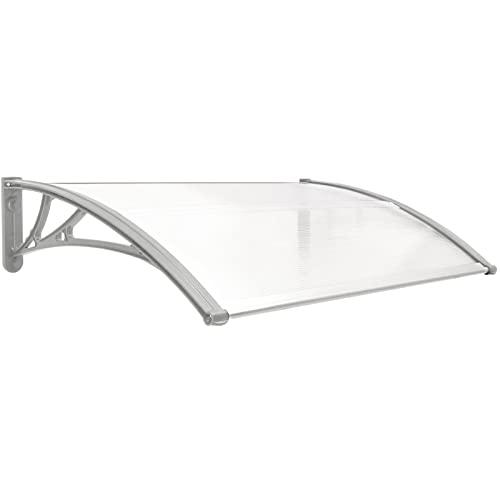 PrimeMatik - Tejadillo de protección 100x60cm Marquesina para Puertas y Ventanas Gris