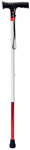 Secure Multifunction Walking Cane for Blind and Visually Impaired, White / Red