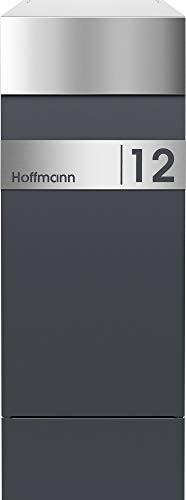 Frabox® Design Paketkasten NAMUR anthrazitgrau RAL 7016 / Edelstahl mit Hausnummer & Namen - 2