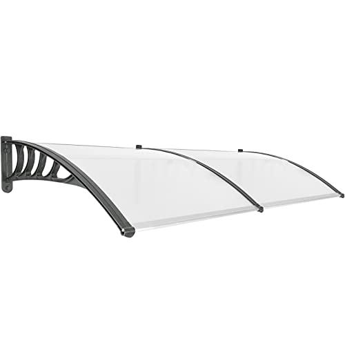 PrimeMatik - Tejadillo de protección 200x90cm Marquesina para Puertas y Ventanas Negro