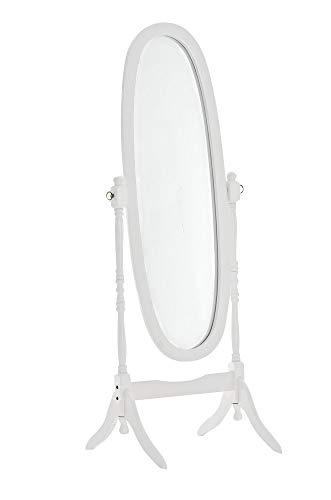 Holz-Standspiegel Cora I Ovaler freistehender Spiegel im Landhausstil I Neigbarer Ganzkörperspiegel mit Holzgestell I Größe 150 x 60 cm, Farbe:weiß