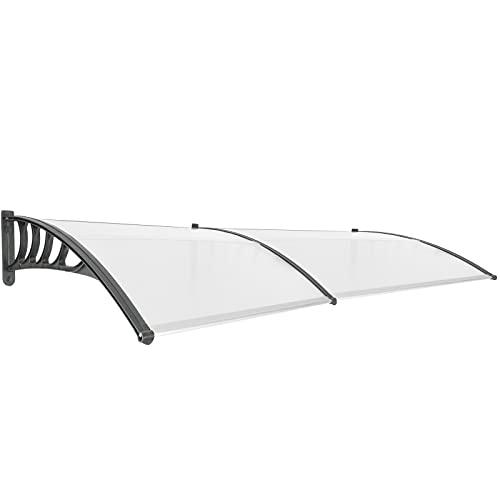PrimeMatik - Tejadillo de protección 240x90cm Marquesina para Puertas y Ventanas Negro