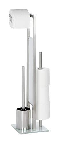 WENKO Stand WC-Garnitur Rivalta, mit integriertem Toilettenpapierhalter und WC-Bürstenhalter, Silber matt, Maße: 18 x 19 x 69 cm