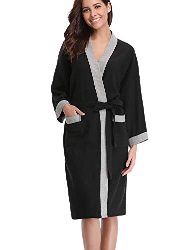 Abollria Vestaglia Lunga da Donna in Cotone al 95% Elegante Sexy Pigiama Kimono con Cintura per Casa Spa Hotel (XL,...