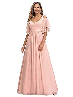 Not padded, with lining Features: double V-Neck, A-line, cold shoulder, empire waist, floor length bridesmaid dress Unique cold shoulder design featuring V Neckline, this bridesmaid dress is elegant and flattering Perfect for wedding party, bridesmai...