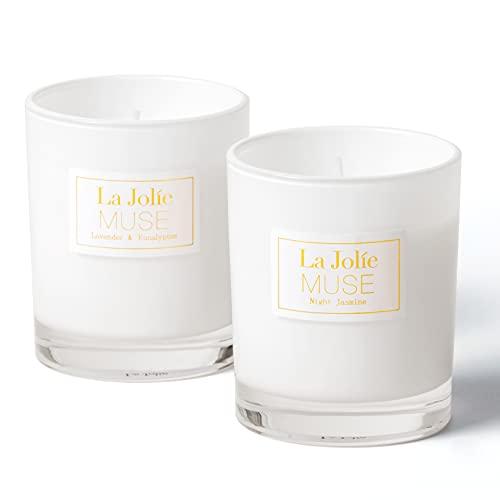 LA JOLIE MUSE Lavender Eucalyptus & Jasmine Scented Candle,...
