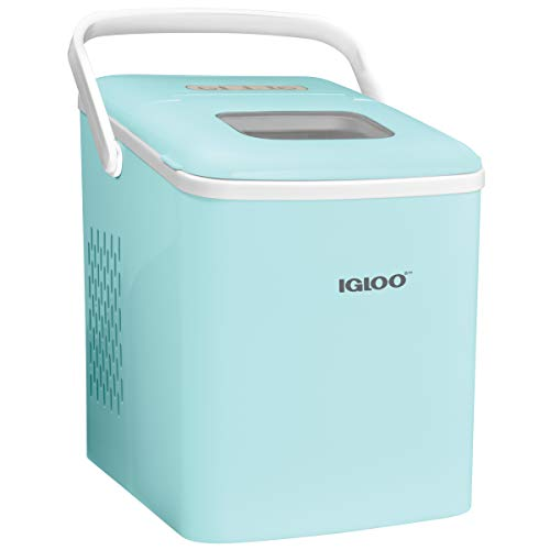 Igloo ICEB26HNAQ Automatic Self-Cleaning Portable Electric Countertop Ice Maker Machine With Handle, 26 Pounds in 24 Hours, 9 Ice Cubes Ready in 7 minutes, With Ice Scoop and Basket