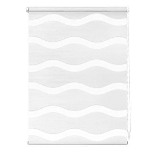 Lichtblick Doppelrollo Welle Klemmfix, 90 cm x 150 cm (B x L) in Weiß, ohne Bohren, Duo Rollo mit Jalousie-Funktion, dekorativer Sonnen- & Sichtschutz, für Fenster & Türen