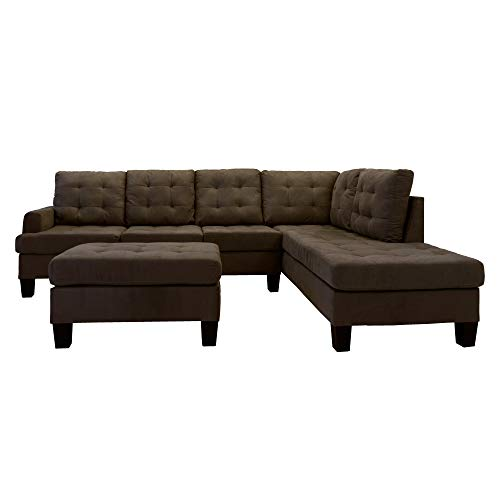 Casa Andrea Milano LLC 3 Piece Modern Reversible Sectional Sofa Couch with Chaise and Ottoman, Dark Tan