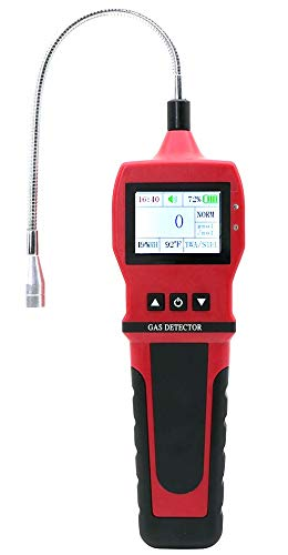 GAS LEAK DETECTOR by FORENSICS | Adjustable Alarms | 0-10,000ppm & 1ppm Resolution Display | Water, Dust & Explosion Proof | Li-Ion Battery | Natural Gas, Methane & Combustibles | RED color