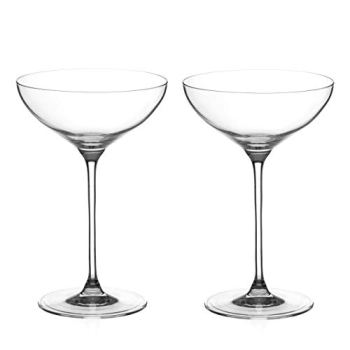 DIAMANTE Champagne Cocktail Saucers coupes Pair - 'Moda' Collection Undecorated Crystal - Set of 2