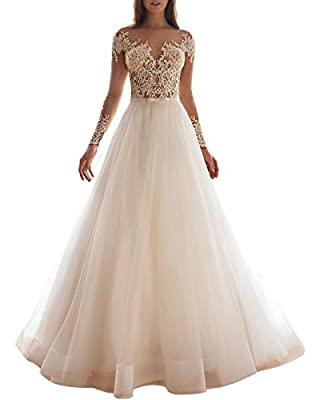 Features: Wedding Dresses with Sleeves, Lace Appliqued Wedding Gowns for Bride, A Line Scoop Neck Bridal Gowns, Zip Closure, Decorated Buttons, Natural Waist, Built-in Bras Notice: Don't refer to the Amazon Size Chart(next to the size selection butto...