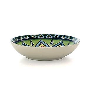 Elama Zen Green Mozaik Multicolored Round Stoneware Mandala Pattern Dinnerware Set, 16 Piece