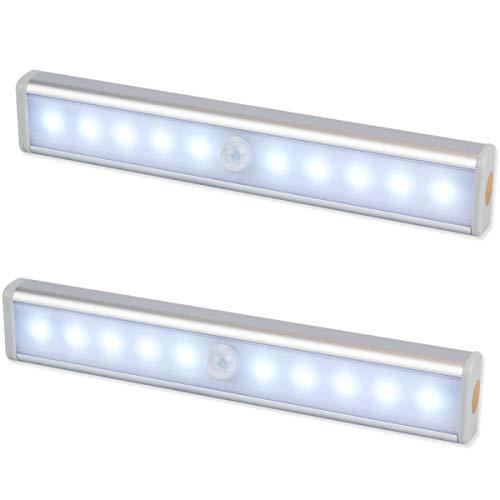 Emiup, illuminazione a 10 LED con sensore di movimento, alimentato a batteria, senza cavi, con striscia magnetica e adesivo 3M, per armadio, armadietto, scale, bagno (2pezzi)