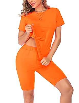 【Top】:O-Neck, Bright Solid Color, Short Sleeve T-shirt, Loose Fit and Soft Fabric gives you more relaxed feeling when you wear. 【Shorts】:High Waist Bodycon Shorts,2 Slant Pockets, Knee Length, Stretch Fabric makes you show your curves perfectly. 【Fas...