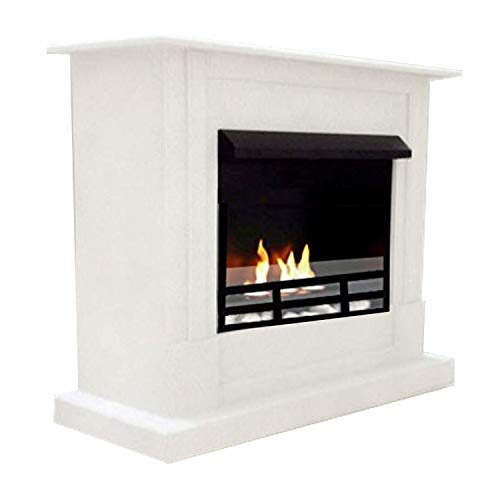Bio Ethanol Fireplaces, Fireplace Emily Deluxe Royal Model White Adjustable Stainless Steel Burner + Safety Glass