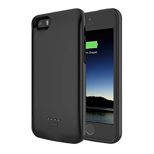 SNSOU Battery Case for iPhone 5/5S/SE, 4000mAh iPhone SE Battery Charging Case for iPhone 5 SE 5S Magnetic Charger Case Protective Backup Power Case Cover for iPhone 5/5s/se -Black [Not fit 5C Model]