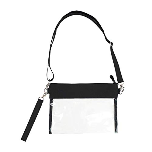 31+syOAOdIL Material:PVC Zipper Closure: Compartment Open and Closed by Zipper. Concise Fashion and Cute: This small clear purse features a main compartment, zipper closure, with Oxford Cloth on outside top + a hand wrist strap + adjustable shoulder strap