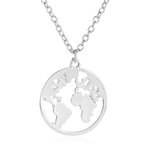 LoveAloe World longue distance pendentif collier en argent voyage monde...