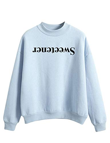Ariana Grande Sweatshirt for Women,Trend Singer Sweetener Thank u, Next Hoodie Pullover Solid Color Sweater Long Sleeve for Girl Woman (Blue,S)