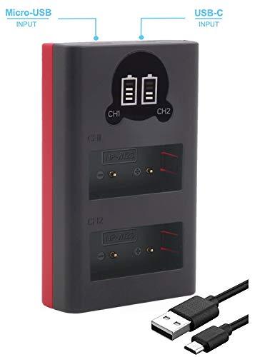 Baxxtar 1855 - Compatibile con batteria Fujifilm NP-W126s NP-W126 - Mini caricatore - (Dual/LCD) - Alimentazione tramite USB-C o Micro-USB