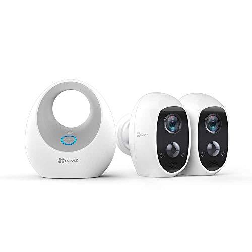 EZVIZ C3A Telecamera di Videosorveglianza Senza Fili 1080p Kit 2 telecamera Wi-Fi a batteria con base,Rilevamento di Movimento PIR,Audio 2 Vie,Visione Notturna,Impermeabile IP65,Compatibile con Alexa