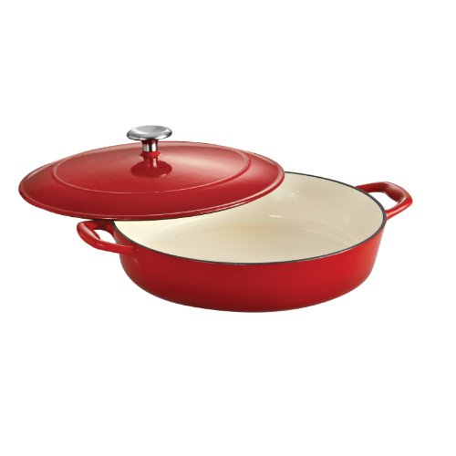 Tramontina 80131/050DS Enameled Cast Iron Covered Braiser, 4-Quart, Gradated Red