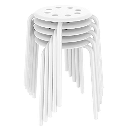 Yaheetech Plastic Bar Stools Flexible Seating Backless Barstools Dining Chairs Stack Nesting Stools, 17.3inches Height White Pack of 5
