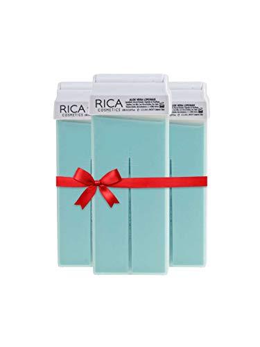 Rica Wax Aloe Vera Roll-On Wax Kit (Set of 3 Refill Wax) 100 ML - Made in Italy