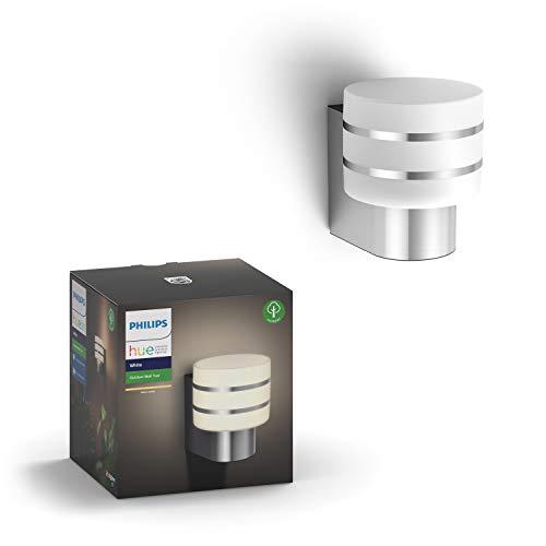 Philips Hue – Lámpara inteligente, Hue Tuar, Aplique de Exteriores LED Inteligente, Luz Blanca Cálida, Compatible con Alexa y Google Home, Color Negro