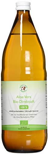Bio Aloe Vera Premium 100% Direktsaft | Handfiletiert | Reich an natürlichen Inhaltsstoffen | Durchschnittlich 1200mg/l Aloverose | Braunglasflaschen | 1 x 1000ml