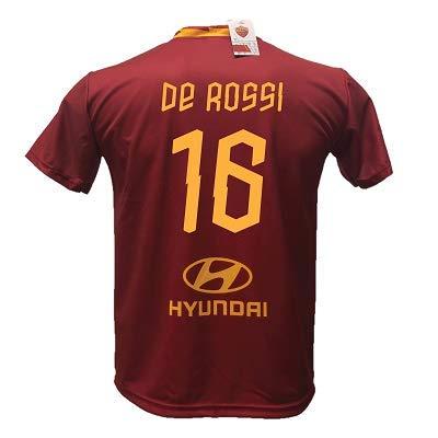 DND di D'Andolfo Ciro Maglia Calcio De Rossi 16 Roma Replica Autorizzata 2019-2020 Bambino (Taglie 2 4 6 8 10 12) Adulto (S M L XL) (L (Adulto))